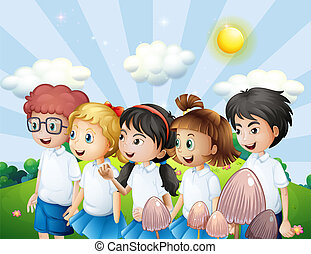 school geitjes, wandelende, uniform, hun, heuvel