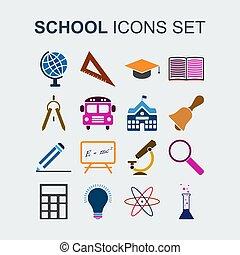 school, gekleurde, iconen, set., illustratie, vector