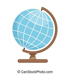 School geographic globe, colorful flat icon. Vector