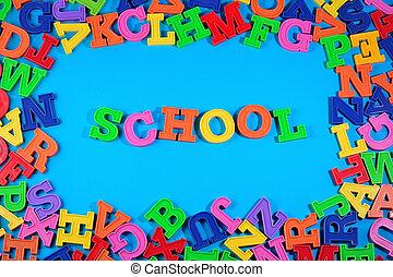 school, geschreven, door, plastic, kleurrijke, brieven