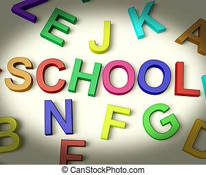 school, geschreven, in, veelkleurig, plastic, geitjes, brieven