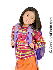 School Girl - a young asian school girl ready for school