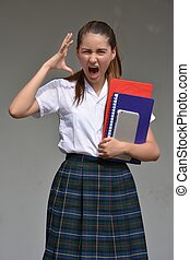 School Girl And Anxiety Wearing School Uniform With Books