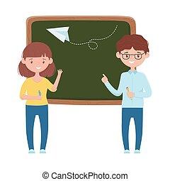 School girl boy board and paperplane vector design