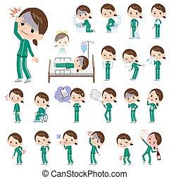 school girl Green jersey_sickness - A set of women in...