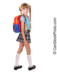 School girl in uniform with backpack.