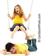 School Girl on Swing Knocks Boy Down on Ground