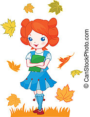 School girl red hair illustration