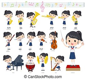 A set of sailor suit girl on classical music performances.There are actions to play various instruments such as string instruments and wind instruments.It's vector art so it's easy to edit.