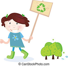 Recycling is good way to save trees! Vector Illustration of school girl with recycle sign.