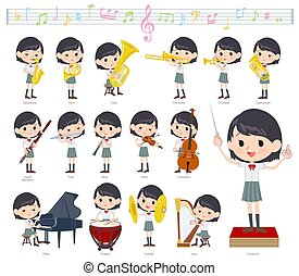 A set of Short sleeve school girl on classical music performances.There are actions to play various instruments such as string instruments and wind instruments.It's vector art so it's easy to edit.