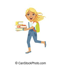 School Girl With Books Running To Class