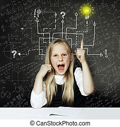 School girl with thumbs up and question signs and light idea bulb, education concept
