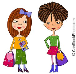 School girls - Colorful graphic illustration