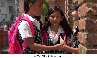 School Girls Saying Goodbye