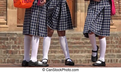 School Girls Wearing Skirts