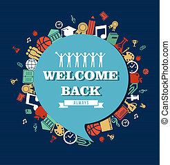 school, globaal, back, icons., sociaal, opleiding, bel