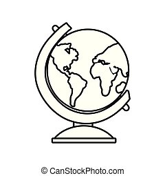 school globe geography on white background outline