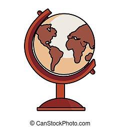 school globe geography on white background