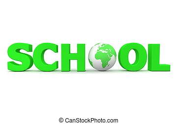 school, globe globaal, -, een, groene