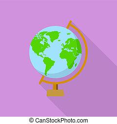 School globe icon, flat style
