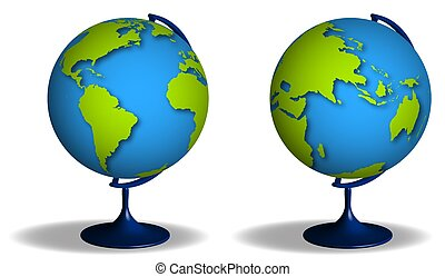 school globe on stand. Studying geography at school. Planet earth model for training. Vector on transparent background