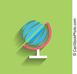 School globe vector flat design