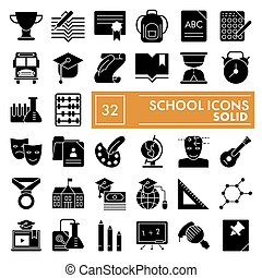 School glyph icon set, education symbols collection, vector sketches, logo illustrations, study signs solid pictograms package isolated on white background, eps 10.
