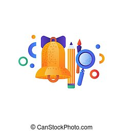 School golden bell. pencil, pen and magnifying glass, education concept, school supplies vector Illustration on a white background