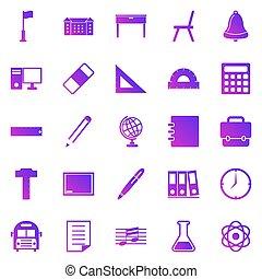 School gradient icons on white background