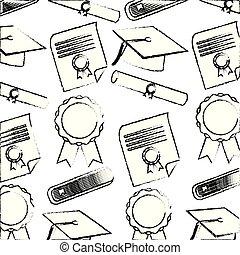 school graduation hat scroll diploma certificate pattern
