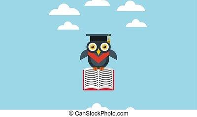 school graduation success - graduate owl flying holding open...