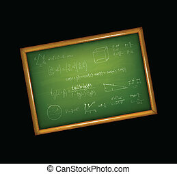 School green board with formulas. Vector