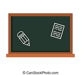 School green board with pencil and paper icon vector design