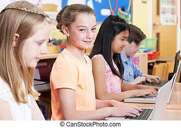 school, groep, kinderen, computer, elementair, stand