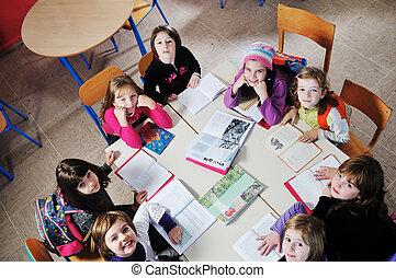 school, groep, kinderen, vrolijke