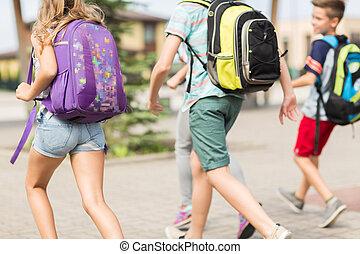 school, groep, scholieren, rennende , elementair, vrolijke