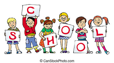 School - Group of small children holding lists of paper