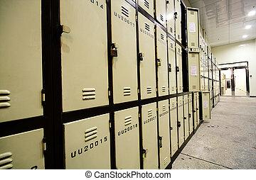 School Hallway with Student Lockers