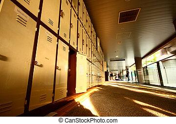 School Hallway with Student Lockers - School Hallway with...