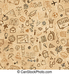 School hand drawn pattern on grunge paper for your design