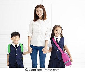school, hand, gereed, vasthouden, moeder, gaan, kinderen