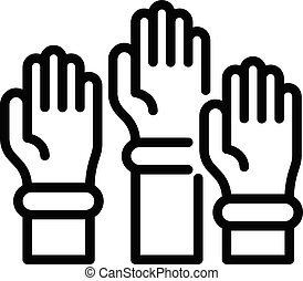 School hands up icon, outline style