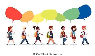 school, hardloop, groep, leerlingen, scholieren, vrijstaand, wandelende, primair, malen, vermalen, anders, praatje, kleine, bellen, kinderen
