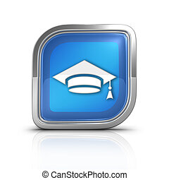 School Hat Time Blue Icon Sign