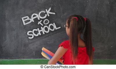 school, het glimlachen, boekjes , vasthouden, meisje, opleiding, stand, vrolijke