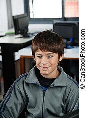 school, hoog, computer, student, het glimlachen, stand