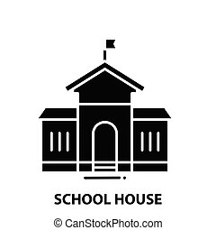 school house icon, black vector sign with editable strokes, concept illustration