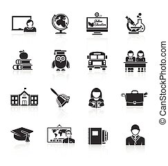 School icon black set with classroom books bus isolated vector illustration