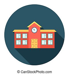 School icon cartoon. Single building icon from the big city infrastructure set.